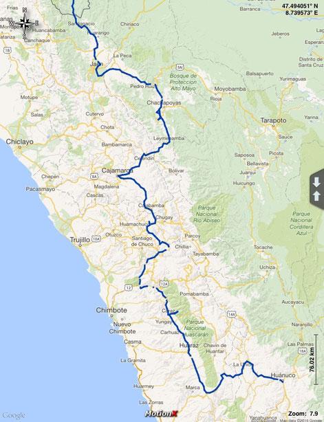 Unsere gefahrene Route im Norden von Peru