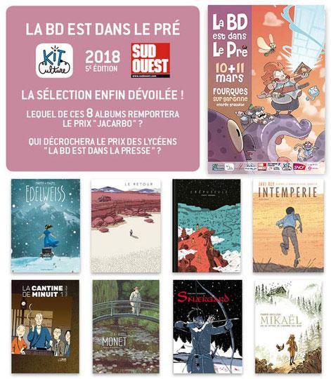Nomines Pric Jacardo - La BD est dans le pré 2018 - Concours festival de BD 2018