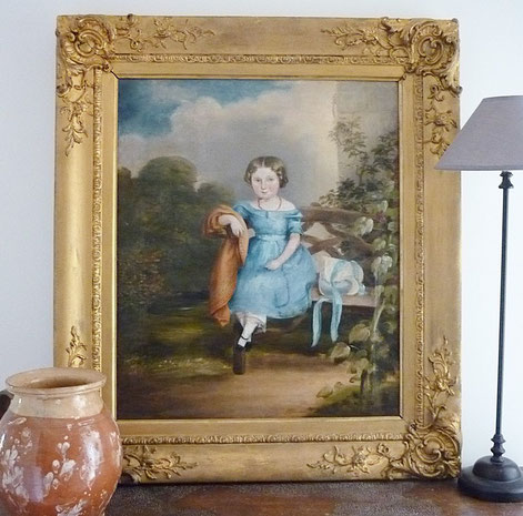 English early 19th century portrait of a girl in a blue dress