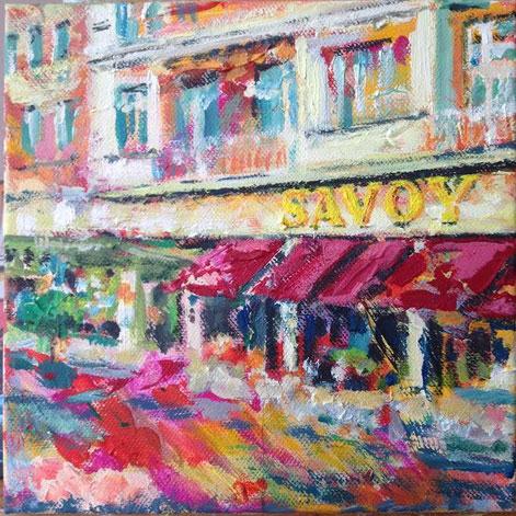 Das legendäre Savoy Hotel  . 20 x 20 cm . Acryl auf Leinwand .