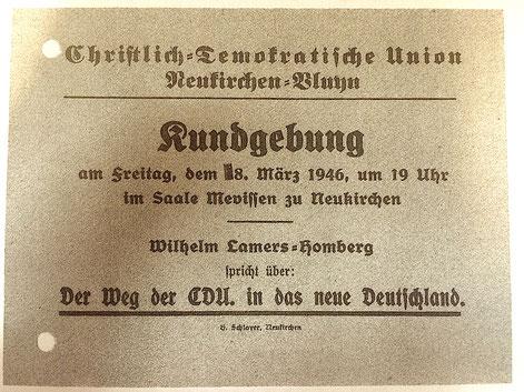 """Am Freitag, dem 8. März 1946 – also heute vor 70 Jahren – konstituierte sich der erste Vorstand der CDU Neukirchen-Vluyn im """"Haus Mevissen"""" unter dem Vorsitzenden Hermann Klumpen. Eine erste Kundgebung fand noch am selben Abend statt."""