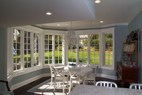 Breakfast nook addition overlooking backyard.