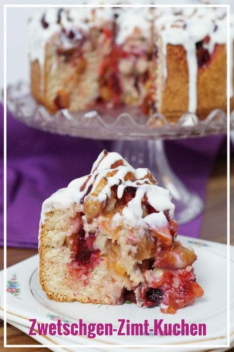 Zwetschgen-Zimt-Kuchen mit Tonka-Guss