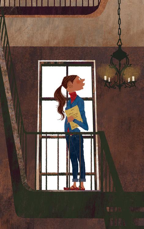 古びた建物の階段の踊り場にいる本を持った女性のイラスト