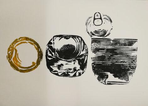 Dosen #3, Blatt 39 x 27 cm Bütten, Monotypie