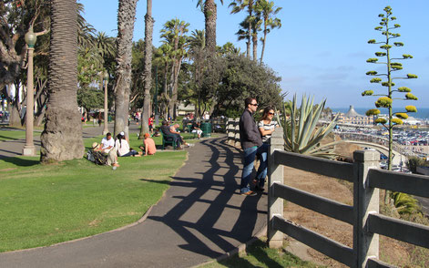Visitors enjoy the spectacular views from Palisades Park