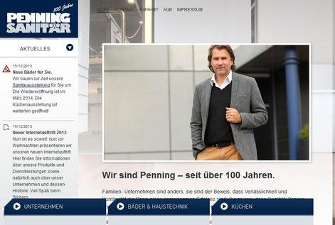 Vom Düsseldorfer Texter Thomas Kadanik: Webseite von Penning