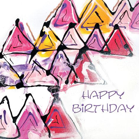 Geburtstagskarte mit modernem künstlerischem Touch, produziert in der Schweiz / Aargau