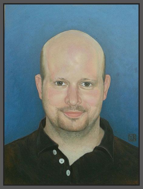 """Ich glaube seine Worte wären gewesen:""""Wat'n schicken Kerl""""Portrait """"Andreas"""" (RIP)30 x 40cm, Öl auf Gessobord"""