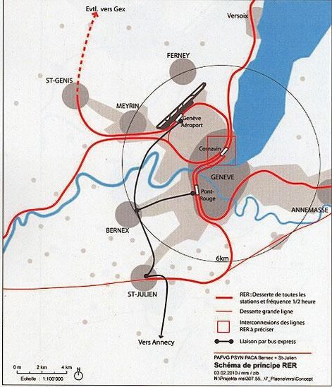 Schéma de prncipe du RER de l'agglomération (document du projet d'agglo FVG)
