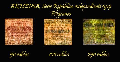 Armenia 1919, serie de Rublos como República Independiente