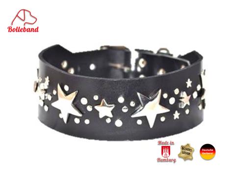 Hundehalsband aus schwarzem Fettleder mit großen silbernen Sternen Bolleband