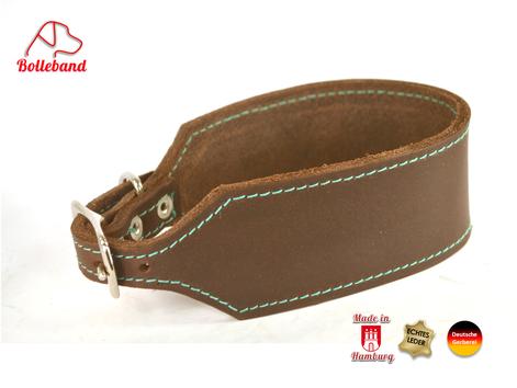 Windhundhalsband aus dinkelbraunem Fettleder mit türkiser Naht 4,5 cm von Bolleband