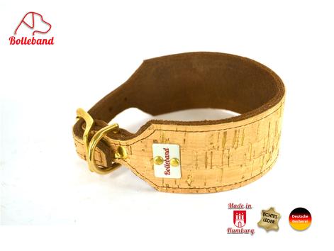 $,5 cm breites Windhundhalsband aus Fettleder und Korkleder von der Korkeiche