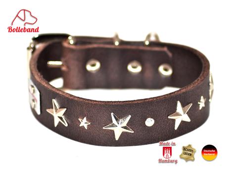 Hundehalsband Leder braun mit silbernen Sternen Bolleband