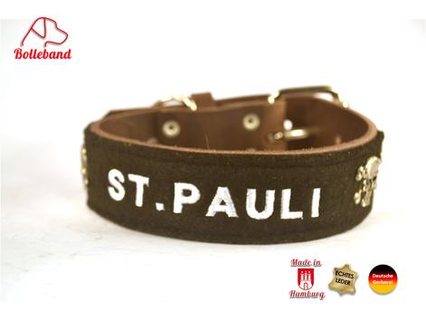 Hundehalsband Leder St.Pauli weiße Schrift Bolleband