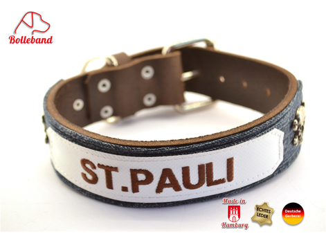 Hundehalsband Leder St.Pauli dunkelbraun mit Jeansstoff weißer LKW Plane und brauner schrift