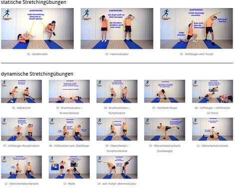 statische und dynamische Stretchingübungen für Walker, Läufer, vom Physiotherapeuten empfohlen