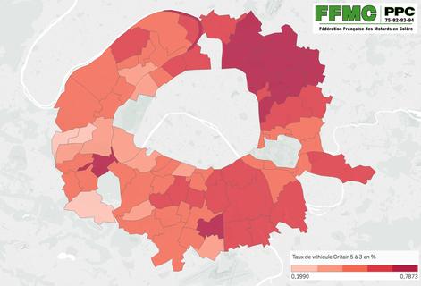 Pourcentage, par commune du Grand Paris, des véhicules concernés par les vignettes Crit'air n°3, 4 ou 5