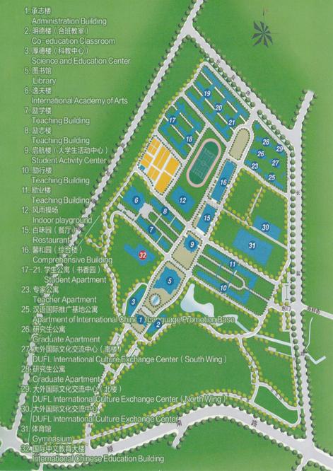 大連外国語大学 キャンパス地図