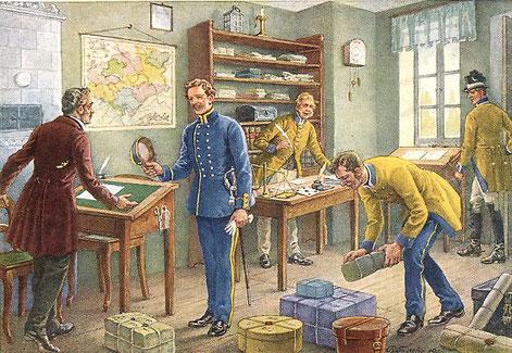 Postbeamte in der Poststube 1852