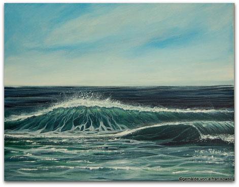 Ein großes Meerbild mit einer Detailreichen Welle gemalt.