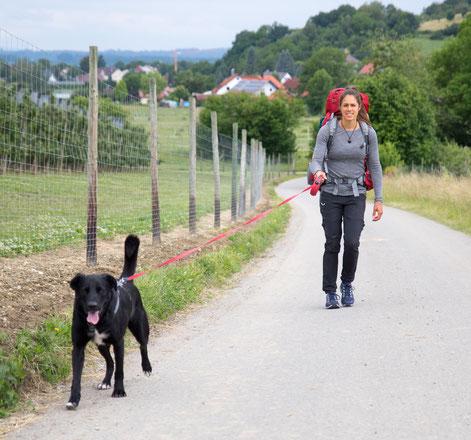 Viviane and the family dog Lenny