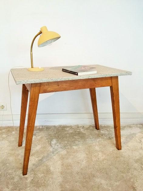 Table bureau chêne compas vintage