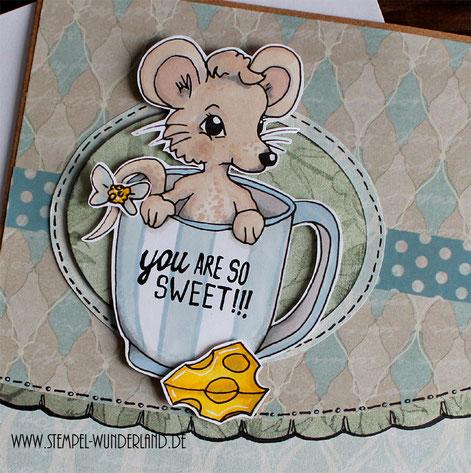 Digi Stamp Digitaler Stempel Scrapbooking Karte Maus mit Käse und Tasse koloriert mit Alkoholmarkern von www.stempel-wunderland.de