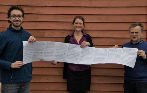 """Felix Starzonek, Silke Weyergraf und Rüdiger Albers mit der Partitur von """"Millionär"""" (Foto: W.Keller; www.dortmunder-augenblicke.de)"""
