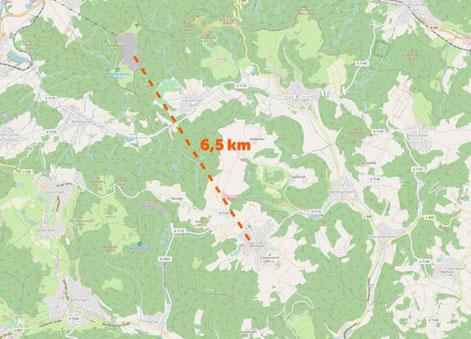 Zwischen dem Steinbruch und Obernheim liegen rund 6,5 Kilometer. Zum Vergrößern auf die Grafik klicken. Foto: © OpenStreetMap-Mitwirkende / Nölke
