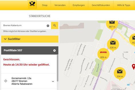 Standortsuche der Deutsche Post für 28277 Bremen-Kattenturm (Internetfoto) - Alberta Tabakwaren ist Postfiliale 507