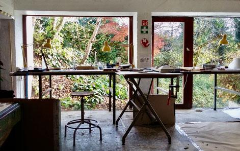 studio garden Verrewinkel, résidence d'artiste, artist résidency, Olivier Strebelle, Anne Goy , Bruxelles, bookdesign. Design du livre, reliure d'art, paper work