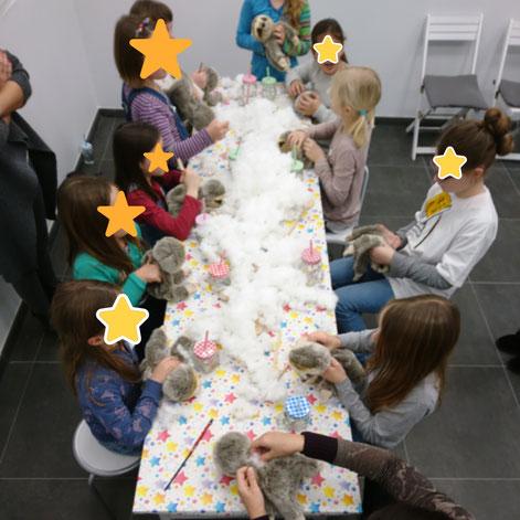Kindergeburtstag Karlsruhe, besonderes Event Karlsruhe, Kinder basteln, einmaliger Kindergeburtstag, kreatives Angebot in Karlsruhe, Kuscheltiere Karlsruhe