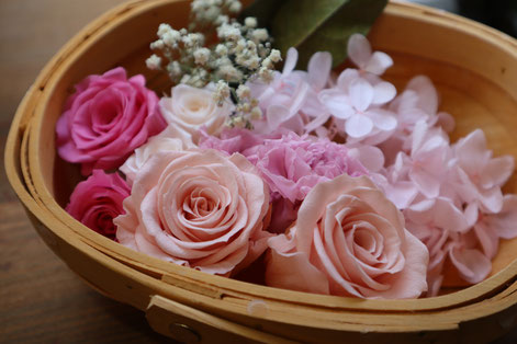 プリザーブドフラワーの花束ができるまで 花えらび GREEN'S TALE