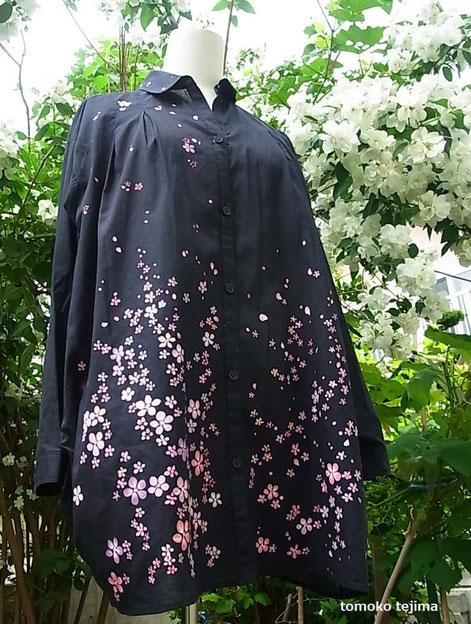 夜桜シャツドレス