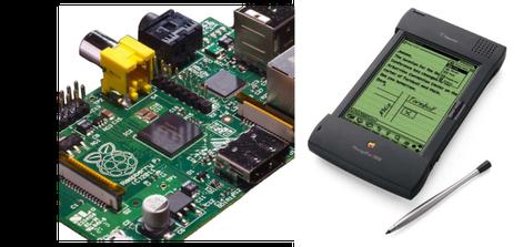 Raspberry Pi(左)とARMの歴史に欠かせないアップルのニュートン(右)