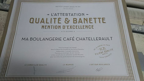 Diplôme Banette d'or Ma Boulangerie Café Châtellerault