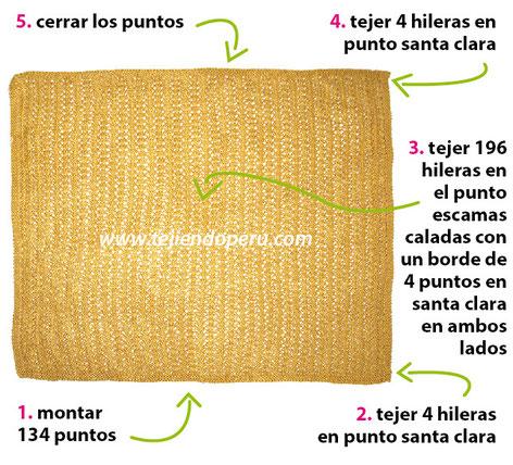 Cómo tejer un poncho doblado en dos agujas o palitos