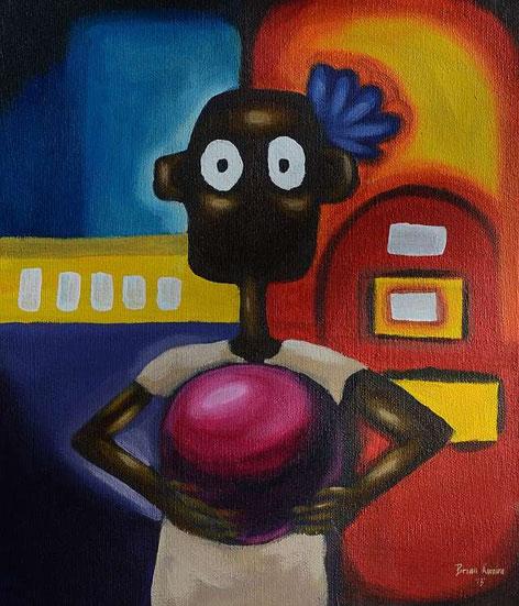 NALA und die Jukebox, von Brian Kumira, Bulawayo / Zimbabwe(30cm x 36cm) Acryl auf Leinwand