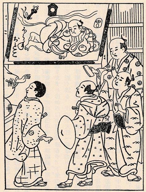 花咲男の絵看板。『見世物研究』朝倉無声 ちくま学芸文庫より。