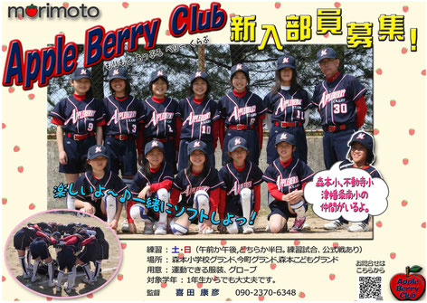 石川県 森本アップルベリークラブ 女子小学生ソフトボール 部員募集案内