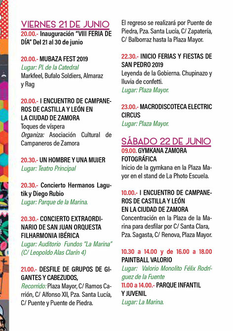 Feria y Fiestas de San Pedro en Zamora Programa