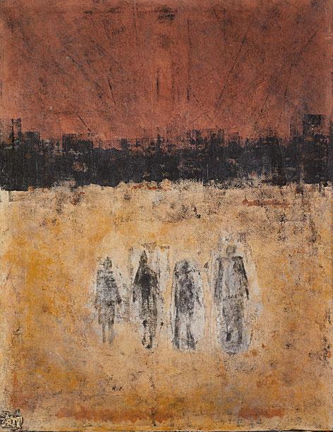 """""""Lost Horizon""""; Acryl und Pigmente auf Leinwand; 70 x 90 cm / Sold / Verkauft"""