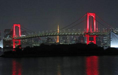 東京アラート発令 レインボーブリッジは、やはり虹色が似合う!みんなの努力で 本来のレインボーブリッジに!
