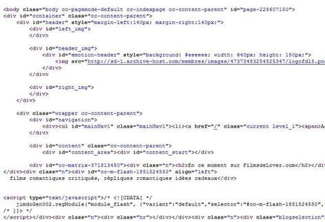 Extrait du code HTML d'une page Jimdo (Cliquez pour agrandir)