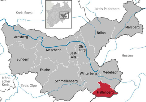 Hallenberg innerhalb des Hochsauerlandkreises (HSK)