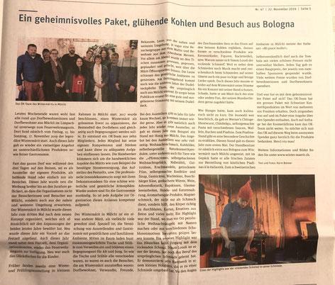 Winter-Märit Mülchi - Beitrag im Fraubrunner Anzeiger 2019