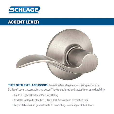 Schlage F10 x Accent Lever x 619 Satin Nickel