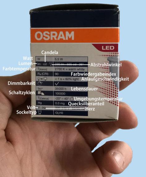 LED-Leuchtmittel Verpackung Erklärung